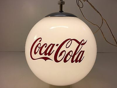 "Vintage Coca Cola Hanging Ceiling Light Fixture Glass Globe 12"" Diameter Wow HTF"