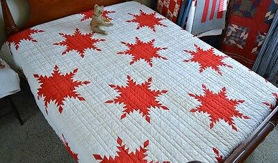 Exquisite Antique Hand Stitched Feathered Red Star Quilt