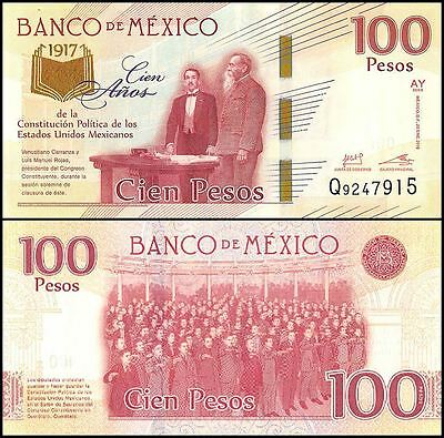 Mexico 100 Pesos, 2016, P-130, UNC,100 Years Political Mexican Constitution