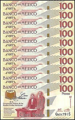 Mexico 100 Pesos X 10 Pieces PCS,2017,P-NEW,UNC,100 Years Political Constitution