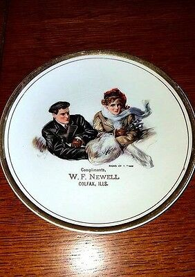 """1920s Advertising Plate """"Signs of a Thaw"""" W.F. Newell, Colfax, IL Dresden China"""
