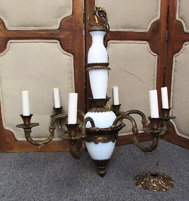 Antique French Italian Rococo White Opaline Bronze Brass Six Light Chandelier