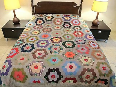 QUEEN Vintage Amish (?) Pieced Wool, Tied FLOWER GARDEN QUILT, Flannel Backing
