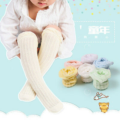 Baby Kids Anti-Slip Socks Lace Hollow Mesh Boys and Girls Knee High Stockings