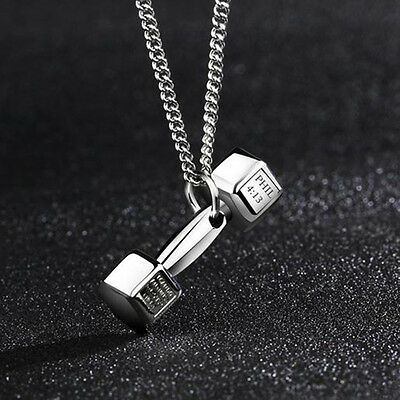 Popular Stainless Steel Dumbbell Pendant Necklace Fitness Gym Cocktail Crossfit