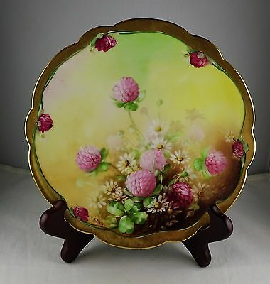 Pickard Hand Painted Plate Artist Signed - Floral with Gold Trim