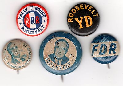 5 FDR Pins ~ RALLY ROUND ROOSEVELT ~ YD (Young Democrat) + 3 Lithos