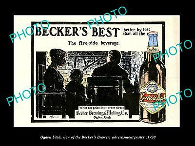 OLD LARGE HISTORIC PHOTO OF OGDEN UTAH, THE BECKER BREWERY BEER POSTER c1920 6