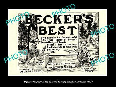 OLD LARGE HISTORIC PHOTO OF OGDEN UTAH, THE BECKER BREWERY BEER POSTER c1920 4
