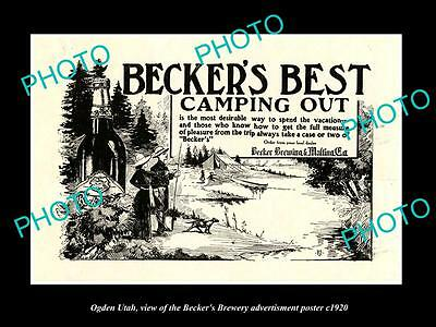 OLD LARGE HISTORIC PHOTO OF OGDEN UTAH, THE BECKER BREWERY BEER POSTER c1920 3