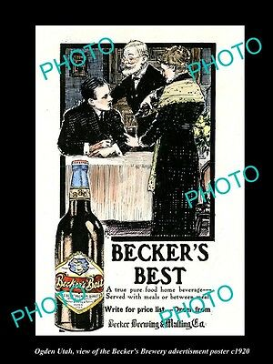 OLD LARGE HISTORIC PHOTO OF OGDEN UTAH, THE BECKER BREWERY BEER POSTER c1920 2