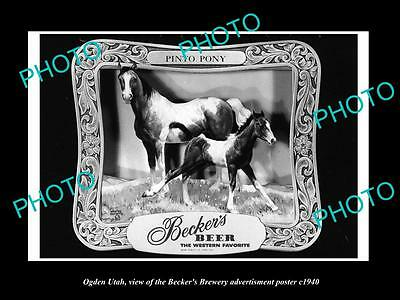 OLD LARGE HISTORIC PHOTO OF OGDEN UTAH, THE BECKER BREWERY BEER POSTER c1940 2