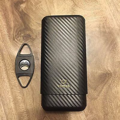 C ohiba Carbon Fiber Leather 3Ct Wooden Cigar Case Travel Humidor +Free  Cutter