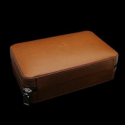 Cohiba Brown Leather Cedar Woodern 4-6 ct Case Travel Humidor w/ Cutter& Lighter