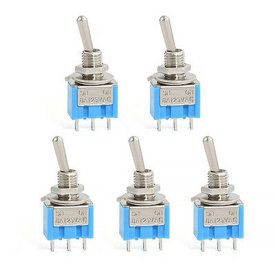 5 Pcs blue  AC ON/OFF SPDT 3 Pin 2 Position Latching Toggle Switch tool