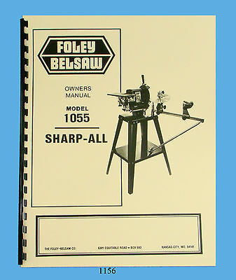 Foley Belsaw Model 1055 Sharp-All Operator & Parts Manual *1156