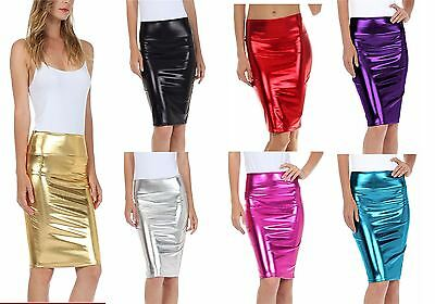 Womens High Waist Mettalic Liquid Shiny Bodycon Pencil Skirt Ladie Wetlook Dress