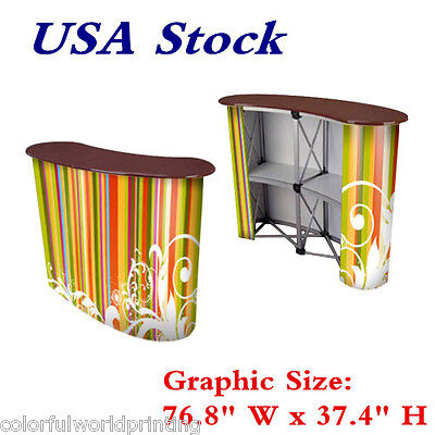 "USA Stock -Big Size 76.8"" W x 37.4"" H Magnetic Pop Up Counter Display Counter"