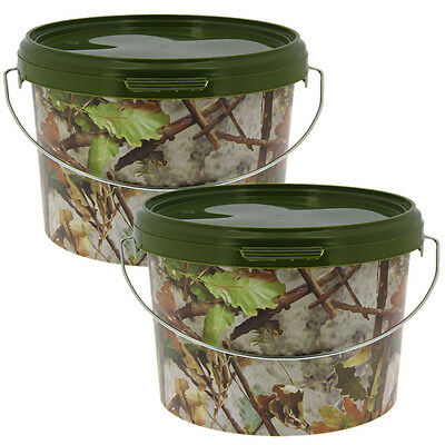 2 x 3l CAMO FISHING BAIT BUCKET FOR BOILIES GROUND BAIT KRILL BAITS PELLETS NGT