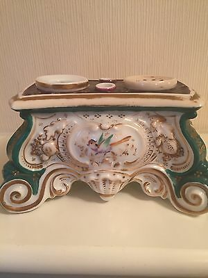 Rare Antique French Porcelain Hand Painted Floral/Bird 19th Century Inkwell 1890