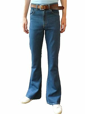 Mens Denim Bell Bottoms Flares Jeans High Rise vtg Mod Hippy Stonewash Blue