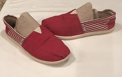 Toms Girls Youth Size 4 M Red/White Stripe Canvas Slip On Shoes Flats