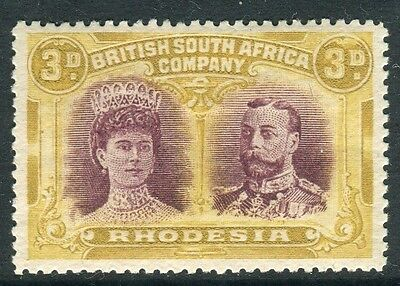 RHODESIA-1910-13 3d Purple & Ochre.  A lightly mounted mint example Sg 134