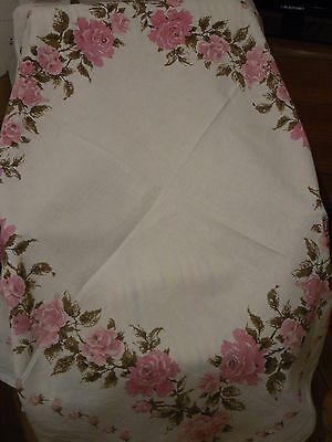 "Vintage Retro Tablecloth White Linen Pretty Pink Roses  50"" X 48"""