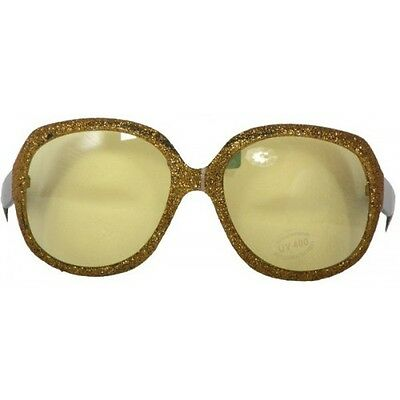 Party Glasses Large Gold Framed with Yellow Lenses Plastic One Size