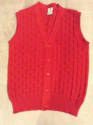 Vintage? Red Wool Australian Made Button Vest Size 14