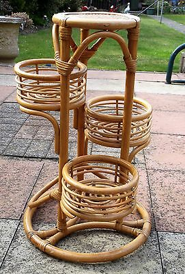 Retro Vintage 60's Cane Bamboo & Rattan Plant Stand