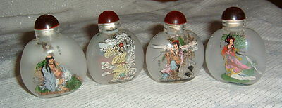 Set of Four Vintage Chinese reverse painted Snuff bottles / Perfume Bottles?
