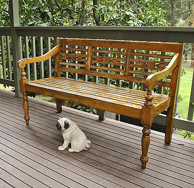 Rustic Outdoor / Garden / Patio / Verandah Carved Teak 3 Seater Bench Seat # 1