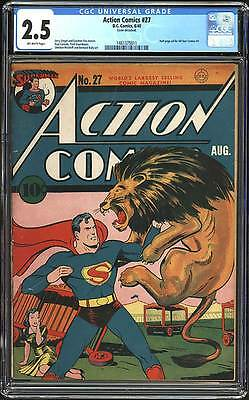 Action Comics # 27  First Lois Lane cover !  CGC 2.5 rare Golden Age book !