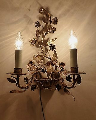 Stunning Pair of Large Gilded Vintage Italian Tole / Toleware Wall Lights C1950s