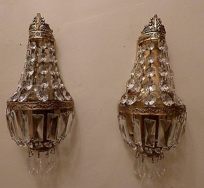 Pretty Pair French Brass & Crystal Tent & Bag Wall Lights, Rewired