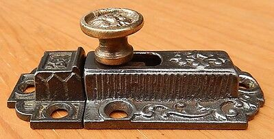 Antique 19th C Cast Iron & Brass 2 Piece Cabinet Cupboard Door Latch Ships $4.95
