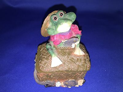 Resin Frog Trinket Box Holding Fish Sitting On Basket