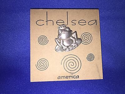 SM PEWTER FROG PRINCE CLUTCH PIN.by Chelsea new on card
