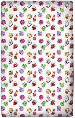 Shopkins Shopaholic Trolley Single Fitted Sheet Bedding Bedroom Girls Kids White