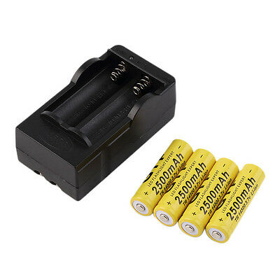 4pcs 14500 3.7V 2500mAh Rechargeable Li-ion Battery + Charger For Yellow Q#