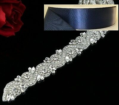 Wedding Belt - Crystal Wedding Sash Belt = 17 inch long in NAVY satin sash
