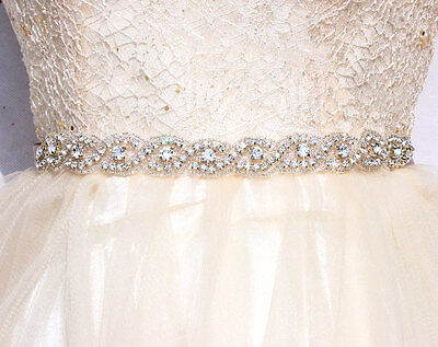 "17"" Wedding Sash Belt - SILVER Crystal Wedding Dress Sash Belt = 17 inch long"