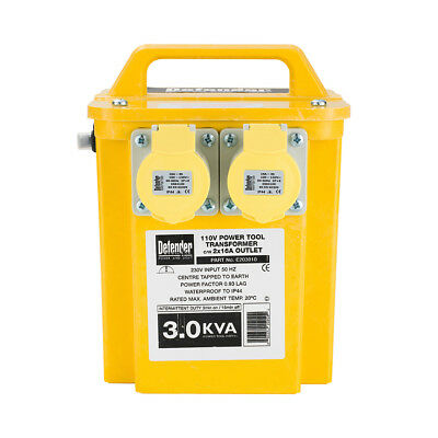 110v Site Transformer 3 kVA 2 x 16A Outlet Fitted 13A Plug E203010