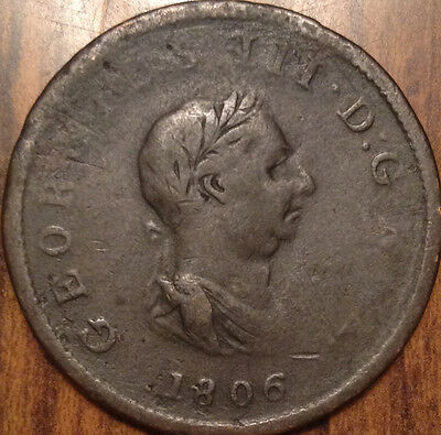 1806 Gb United Kingdom Half Penny In Good Condition
