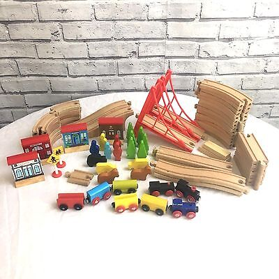 Brio Style Wooden Train Set Approx. 70 Piece Play Set Trains People Trees Tracks