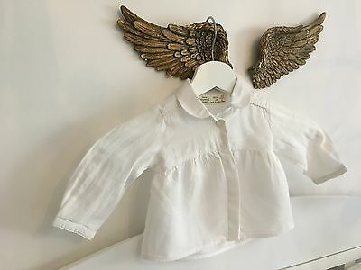 White cotton pleated shirt 3-6 months summer baby clothes Zara clothing