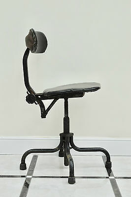 1940s VINTAGE INDUSTRIAL MACHINISTS SWIVEL ADJUSTABLE FACTORY OFFICE CHAIR