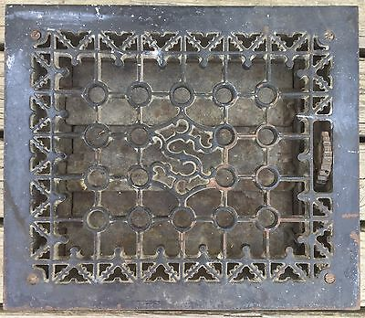 OLD VTG ANTIQUE CAST IRON FLOOR GRATE HEATING VENT S MONOGRAM DESIGN SR CO 10x12