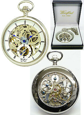 Woodford Open Face Skeleton Pocket Watch CP with Free Engraving (1043)